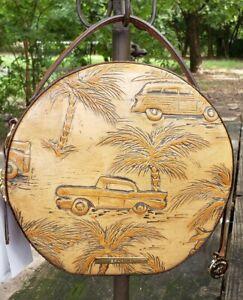 Brahmin Lane Canteen Tan Copa Cabana Woody Cars & Palm Trees Crossbody/Bag NWT
