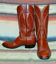 Mens Vintage Lucchese Medium Brown Leather Cowboy Boots 8 1/2 D Excellent Cond
