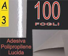 100 ff A3 VINILE PVC ADESIVA BIANCA LUCIDA POLIPROPILENE X STAMPANTE LASER
