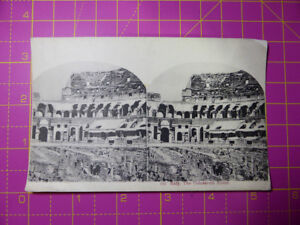 Antique Stereoscope Photograph / Postcard The Colosseum, Rome, Italy Stereoview