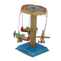 Vintage Wind-up Spinning Carousel Airplanes Planes Tin Toy Collectible/Gift