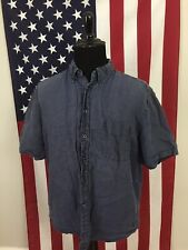 Eddie Bauer 100% Linen Grey Short Sleeve Shirt men's XL pocket Hiking camp 1a56