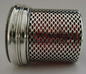BEAUTIFUL AMERICAN STERLING SILVER CRANBERRY GLASS TABLE BOX POT JAR c1910