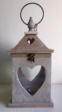 RUSTIC in legno cuore vetro tè luce CANDELA LANTERNA SHABBY CHIC NEXT DAY Despatch