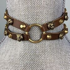 Gucci Brown Leather Feline Choker Necklace Gold Stud Strap Buckle Statement