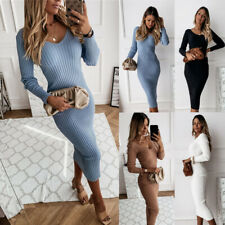 Womens Long Sleeve Bodycon Dress Ladies Evening Party Sweater Jumper Dresses