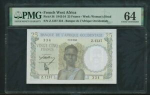 1943 - 1954  FRENCH WEST AFRICA  Pick# 38  25 francs  PMG 64