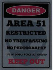 """AREA 51 ALIEN 2  METAL WALL PLAQUE / SIGN 8"""" X 6"""" WITH FIXING PADS"""