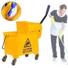 5 Gallon Commercial Wet Mop Bucket & Wringer Combo Yellow Janitorial 20L