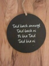 Welsh Slate 10cm Hanging Saying Plaque TAID BACH ANNWYL Grandad, Grandfather
