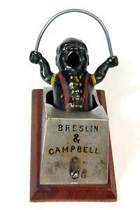 1890s CAST IRON BLACK AMERICANA FIGURAL COUNTERTOP ADVERTISING CIGAR CUTTER