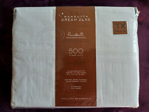 "Wamsutta Dream Zone 100% Pimacott Percale Twin XL Sheet set White NEW Deep 20"""