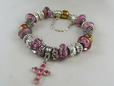 "21cm TWO TONE CHAIN EUROPEAN STYLE CHARM BRACELET (# 1611)""PINK CRYSTAL CROSS"""
