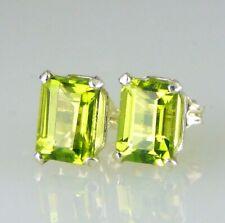 Genuine Peridot Emerald Cut Stud Earrings 925 SS Sterling Silver