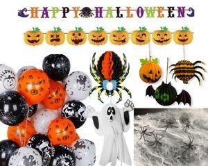 28 pcs Mega Halloween Decoration Pack Bundle Set Buntings Spider Balloons Cobweb