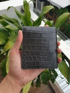 gray / GENUINE Alligator,CROCODILE s bally Leather Skin MEN'S BIFOLD WALLET