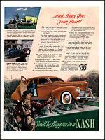 1940 Trout fisherman Nash Car Arrow-Flight city country vintage art print ad L52