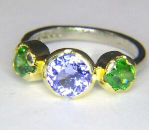 1.11ct Int. Flawless! Tanzanite &2x Tsavorite Handmade Solid 18ct Gold Ring vdo