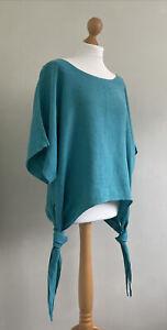 DIVERSE Italy Stunning Turquoise Slub Linen Lagenlook Top With Side Ties OSFM