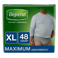 FIT-Flex Incontinence Underwear for Men, Maximum Absorbency, XL, Gray, 48 Count