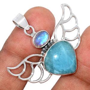 Aquamarine - Aqua & Moonstone 925 Sterling Silver Pendant Jewelry BP99004