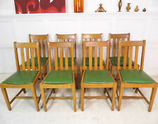 8 x Vintage Antique Arts & Crafts Heals Oak Leather Dining chairs 1930s