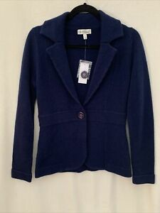 Neiman Marcus Womens Cashmere Notched Collar Cardigan Sweater Blue Size Small S