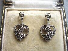 Beautiful Genuine Silver & Marcasite Open Heart Drop Earrings