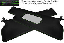 GREEN STITCH FITS RENAULT ALPINE GTA V6 2X SUN VISORS LEATHER COVERS ONLY