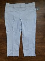 Rafaela Women's Ankle Pants Size 24 Plus Blue Stripe Cropped 24W Elastic