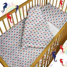 baby BEDDING set crib cot Sea Horses DUVET bumper MOSES BASKET sheet GIRL BOY