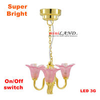 PINK Super Bright battery LED LAMP Dollhouse miniature light chandelier 1:12