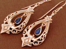 E096 Genuine 9K 9ct Rose Gold Natural Sapphire Earrings Vintage sty Chandelier