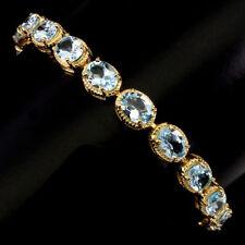 925 Sterling Silber Armband, Gelbgold beschichtet, Natural 8 x 6 mm. Blautopas