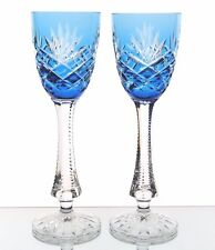 """Faberge Odessa Azure Lt Blue Cut to Clear Crystal Wine Cordial Liqueur New 6.5"""""""