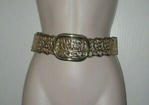 "Women's Bronze Wide 2"" Waist Belt One Size Cut Out Pattern Unique New"