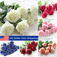 17'' Real Latex Touch Rose Artifical Flowers Wedding Party Home Bouquet Decor
