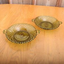 2 Indiana Glass Green Mount Vernon Bowls Handled Dish Vintage