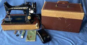 Vintage Singer Sewing Machine 99K Straight Stitch Low Shank 1950,Case Gt.Britain