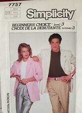 Simplicity Beginner's Choice level 3 pattern 7757 Unlined Jacket sz Small uncut