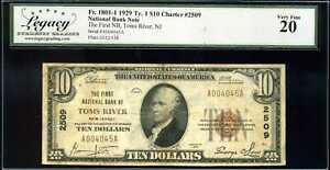 1929 $10 1st National Bank Toms River NJ Fr. 1801-1 Ty.1 Ch#2509 VF20 #A004045A