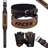 RDX Leather Weight Lifting Belt & Gloves Training Gym Powerlifting Back Support