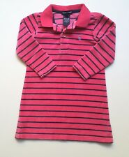 Ralph Lauren Polo Girls 2 2t Dress Pink Velour Striped Logo KK1-80
