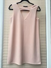 BOOHOO NUDE BLUSH V NECK SHIFT DRESS SIZE 10