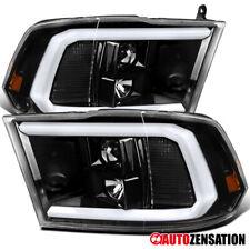 For 2009-2018 Dodge Ram Slick Black LED DRL Bar Tube Projector Headlights Lamps