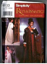 Simplicity 9533 Renaissance Designer Schewe Costume Dress Adult PATTERN XS  S  M