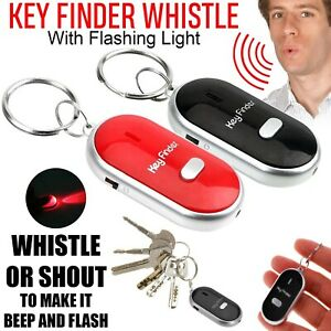 Whistle Lost Key Locator Keys Finder Ring LED Light Remote Control Sonic Torch
