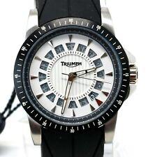 Triumph Motorcycles Men's Stainless Quartz White Silver Rubber Watch 3060-02 NEW