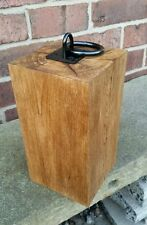Solid oak door stop with iron ring - 24cm high