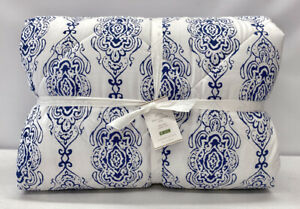NEW Pottery Barn Dessi Percale FULL/QUEEN Quilted Comforter~Blue